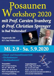 2. - 5. Sep. 2020: Meisterkurs Posaune, Bad Waltersdorf (Österreich)
