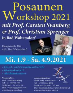 1. - 4. Sep. 2021: Meisterkurs Posaune, Bad Waltersdorf (Austria)